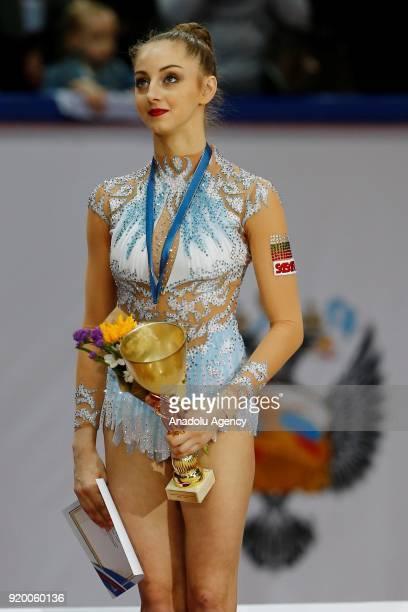 Boryana Kaleyn of Bulgaria is seen during the award ceremony 2018 Moscow Rhythmic Gymnastics Grand Prix GAZPROM Cup in Moscow Russia on February 18...