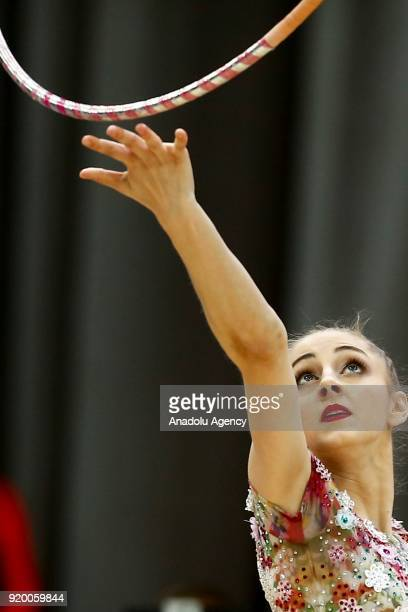 Boryana Kaleyn of Bulgaria performs during the 2018 Moscow Rhythmic Gymnastics Grand Prix GAZPROM Cup in Moscow Russia on February 18 2018