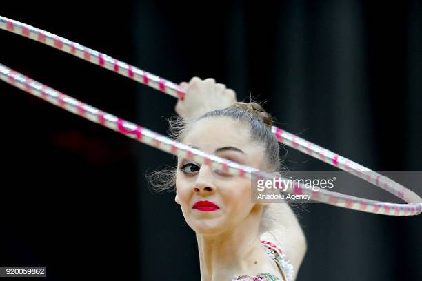 Boryana Kaleyn of Bulgaria performs during the 2018 Moscow Rhythmic Gymnastics Grand Prix GAZPROM Cup in Moscow, Russia on February 18, 2018.