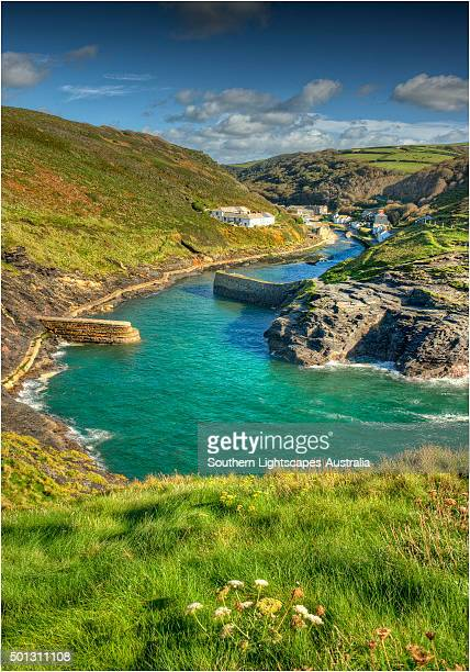 boscastle harbour, cornwall, england - cornwall england stock pictures, royalty-free photos & images