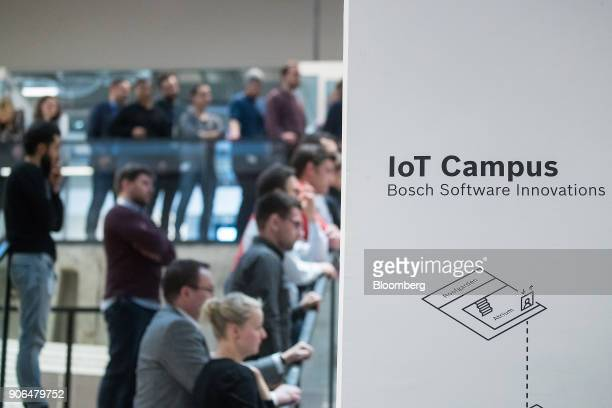 A Bosch Software Innovations sign sits on display as Robert Bosch GmbH opens an Internet of Things campus in Berlin Germany on Thursday Jan 18 2018...