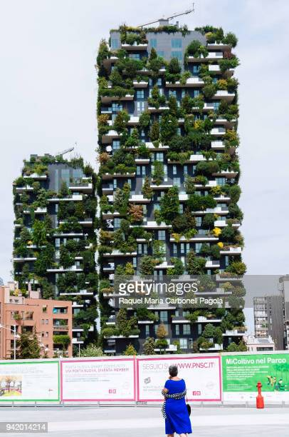 NUOVA MILAN LOMBARDY ITALY Bosco Verticale green buildings and residential towers at the Porta Nuova complex