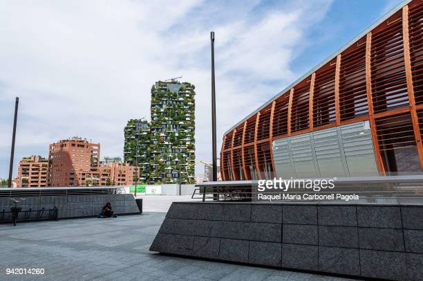 NUOVA MILAN LOMBARDY ITALY Bosco Verticale residential towers next to Unicredit Pavilion at the Porta Nuova complex