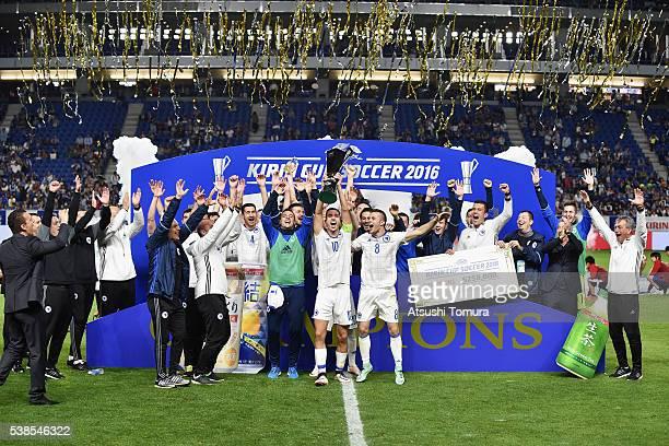 Bosian and Herzegovina players celebrate winning the international friendly match between Japan and Bosnia and Herzegovina at the Suita City Football...