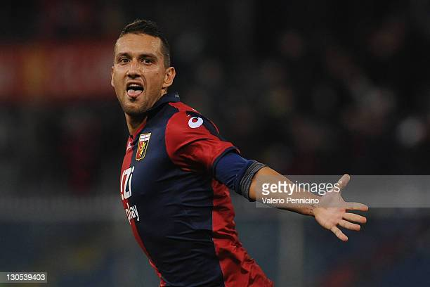 Bosko Jankovic of Genoa CFC celebrates after scoring the opening goal during the Serie A match between Genoa CFC and AS Roma at Stadio Luigi Ferraris...