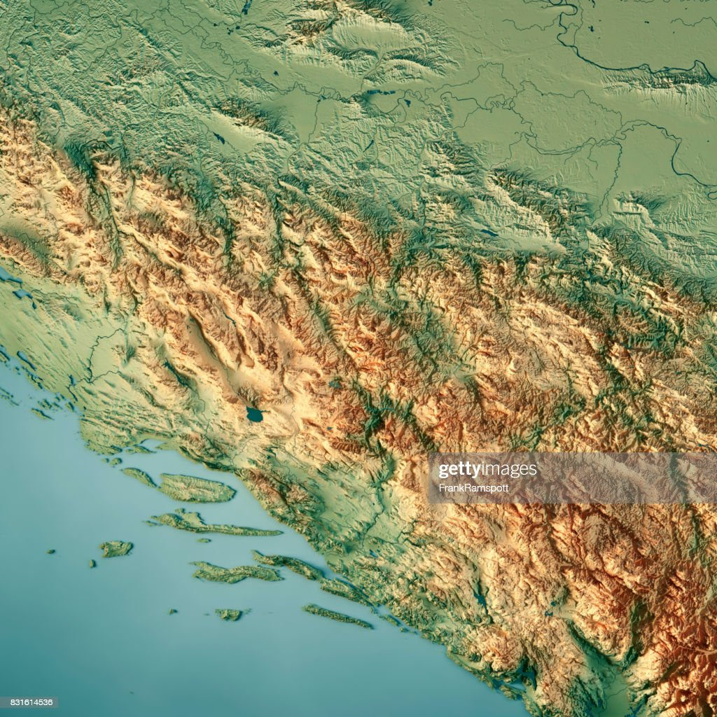 Bosnia And Herzegovina Country 3D Render Topographic Map : Stock Photo