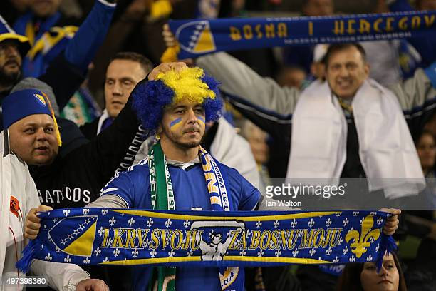 Bosnia and Herzegovina fans enjoy the atmosphere prior to kickoff during the UEFA EURO 2016 Qualifier play off second leg match between Republic of...