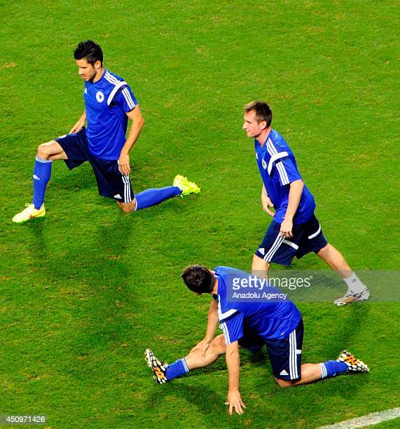 Bosnia and Herzegovina National Team trains before the Nigeria match at Arena Pantanal Stadium in Cuiaba Brazil on 21 June 2014 Sejad Salihovic and...