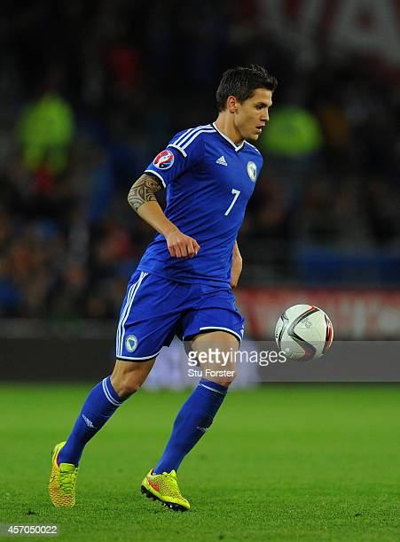 Bosnia and Herzegovina player Muhamed Besic in action during the EURO 2016 Qualifier match between Wales and Bosnia and Herzegovina at Cardiff City...
