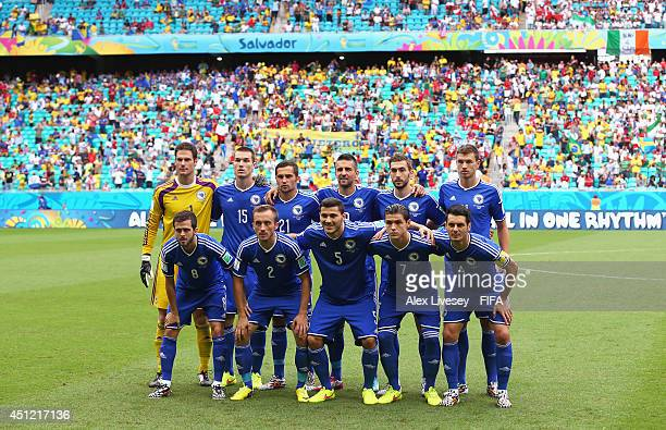Bosnia and Herzegovina players line up for the team photos prior to the 2014 FIFA World Cup Brazil Group F match between BosniaHerzegovina and Iran...