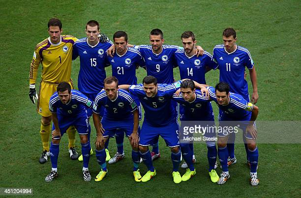 Bosnia and Herzegovina players pose for a team photo prior to the 2014 FIFA World Cup Brazil Group F match between Bosnia and Herzegovina and Iran at...