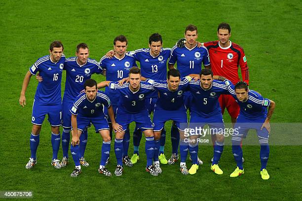 Bosnia and Herzegovina players pose for a team picture during the 2014 FIFA World Cup Brazil Group F match between Argentina and BosniaHerzegovina at...