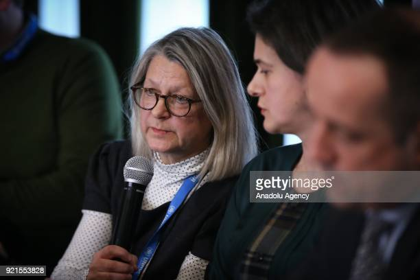 Bosnia and Herzegovinan UNHCR representative Anne Christine Errikson makes a speech as other representatives of the United Nations High Commissioner...
