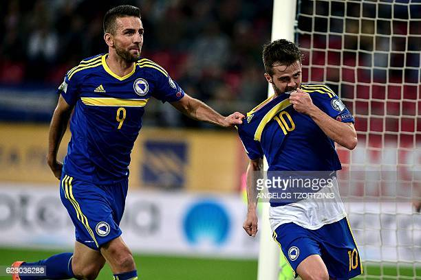 Bosnia and Herzegovina's Miralem Pjanic celebrates after scoring a goal during the 2018 World Cup football qualification match between Greece and...