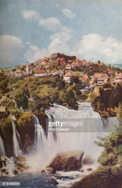 Bosnia. Below the pyramidal hill up which Jajce climbs with its old cittadel the Pliva plunges over ninety feet into the Vrbas', c1920. The Pliva...
