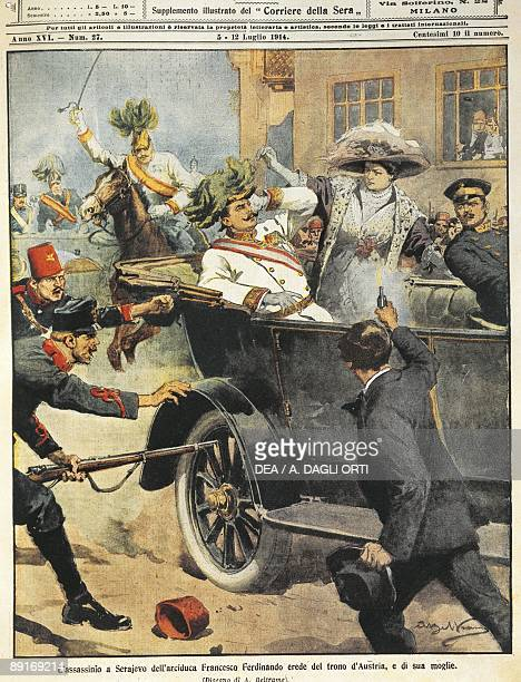 Bosnia Sarajevo July 5 Murder of Archduke Franz Ferdinand artwork from magazine cover