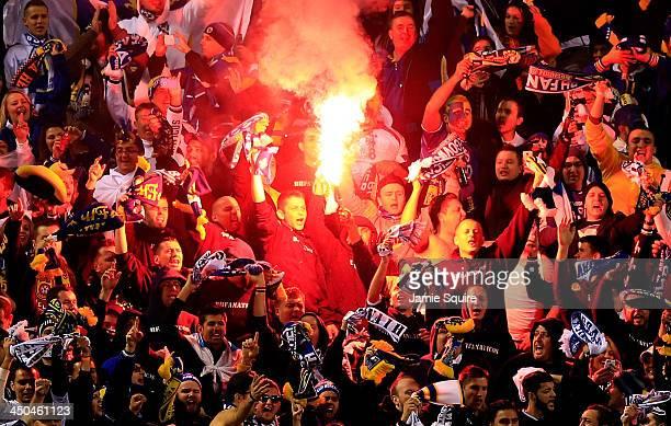 BosniaHerzegovina fans show their support during the international friendly match between BosniaHerzegovina and Argentina at Busch Stadium on...
