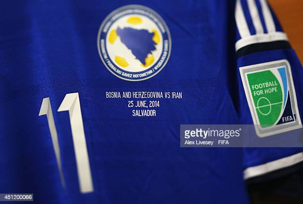 BosniaHerzegovina shirt detail taken prior to the 2014 FIFA World Cup Brazil Group F match between BosniaHerzegovina and Iran at Arena Fonte Nova on...