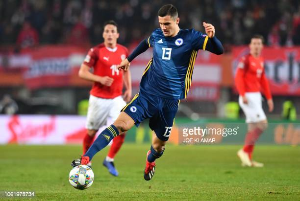 BosniaHerzegovina's Amer Gojak plays the ball during the UEFA Nations League football match between Austria and Bosnia and Herzegovina in Vienna on...