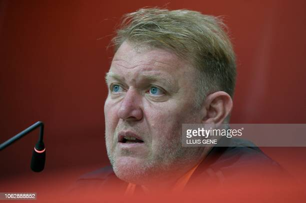 Bosnia-Herzegovina's coach Robert Prosinecki holds a press conference at the Gran Canaria stadium in Las Palmas on November 17, 2018 on the eve of...