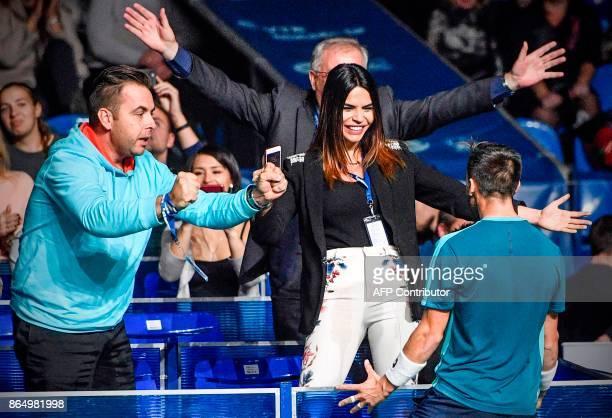 BosniaHerzegovina's Damir Dzumhur celebrates after winning the final tennis match against Lithuania's Ricardas Berankis during the Kremlin Cup tennis...