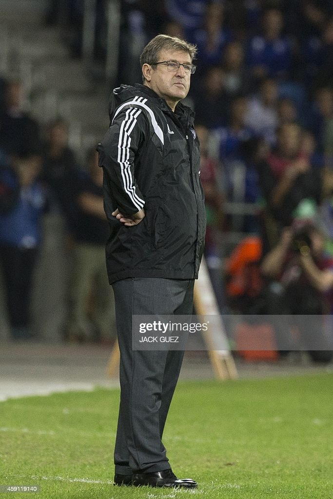 Bosnia-Herzegovina's Head Coach Safet Susic looks on during their Euro 2016 Group B qualifying match against Israel at the Sammy Ofer Stadium in the Israeli coastal city of Haifa on November 16, 2014.