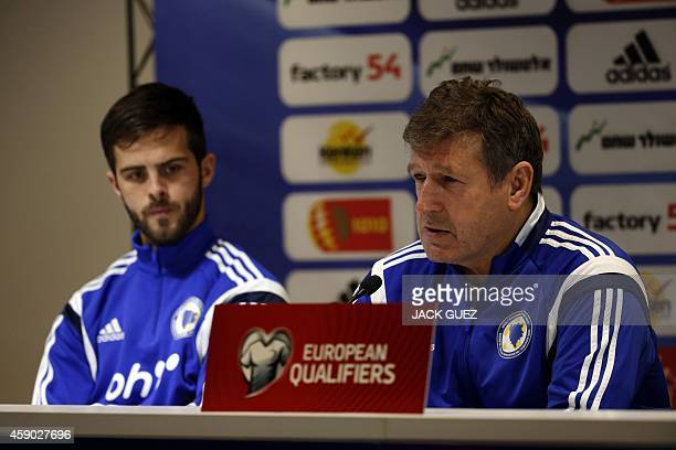 Bosnia-Herzegovina's Head Coach Safet Susic speaks during a press conference at the Sammy Ofer Stadium in the Mediterranean coastal city of Haifa, on...