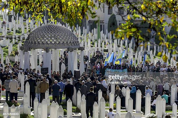 Bosniak soldiers and citizens attend the 11th commemoration ceremony held for the death of the first president of Bosnia and Herzegovina Alija...