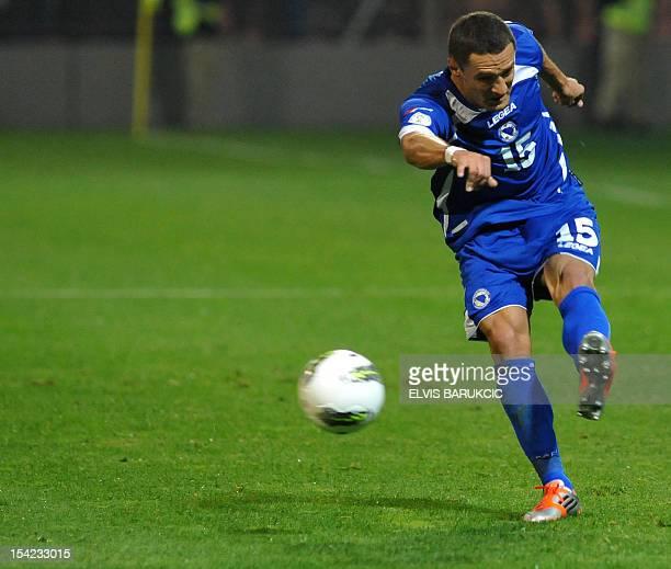 Bosnian and Herzegovina's Sejad Salihovic strikes during the Fifa World Cup 2014 qualifier football match Bosnia and Herzegovina vs Lithuania on 16...