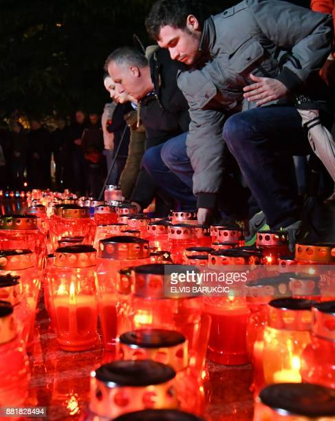 Bosnian Croats and residents of Mostar light candles in in tribute to General Slobodan Praljak on November 29 after Bosnian Croat war criminal took...