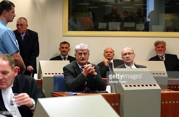 Bosnian Croats Berislav Pusic Valentin Coric General Milivoj Petkovic General Slobodan Praljak and front row Bruno Stojic and former Foreign Minister...