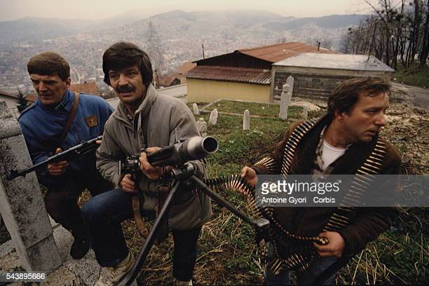 Bosnian fighters on the front in Sarajevo's heights