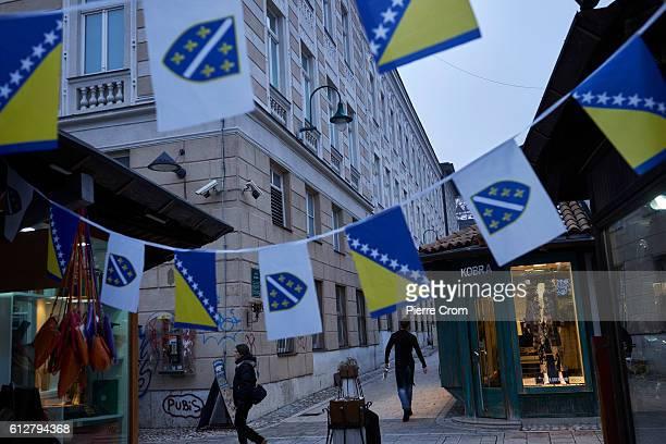 Bosnian flags in the Bascarsija bazaar on November 23 2015 in Sarajevo Bosnia and Herzegovina