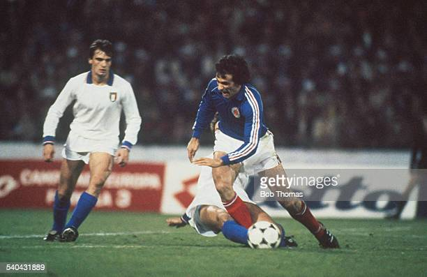 Bosnian footballer Vahid Halilhodzic of Yugoslavia is brought down by Fulvio Collovati of Italy during a World Cup qualifier in Belgrade Serbia 17th...