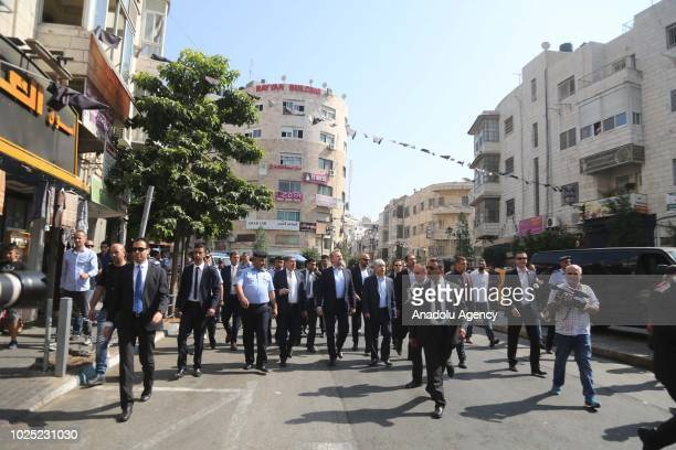 Bosnian member of the Tripartite Presidency of Bosnia and Herzegovina Bakir Izzetbegovic tours the town along with Ahmed Majdalani Member of the...