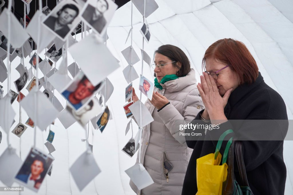 Bosnian Muslims pray inside a makeshift memorial for Bosnian Muslim victims on November 22, 2017 in The Hague, The Netherlands. The International Criminal Tribunal for the former Yugoslavia sentenced former commander of the Serbian forces Ratko Mladic to life imprisonment for the war crimes and genocide he commited during the 1992-1995 Bosnian war.