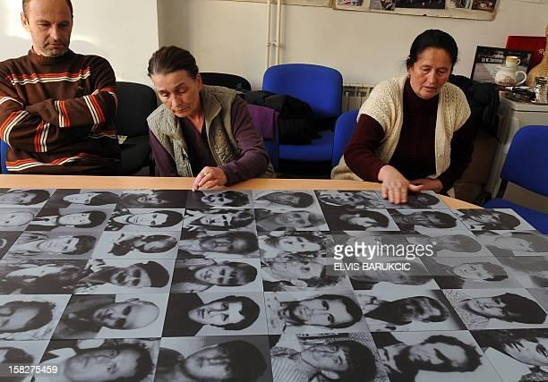 Bosnian Muslims Sabaheta Fejzic Zijad Smajlovic and Kadira Gabeljic survivors of the 1995 massacre in the EasternBosnian town of Srebrenica gather in...