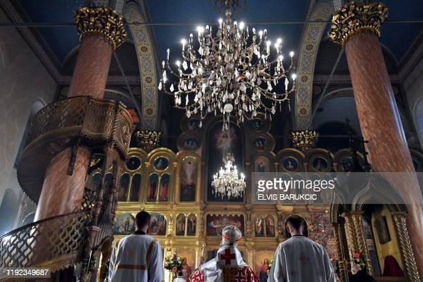 Bosnian Orthodox archbishop Hrizostom Jevic heads the Christmas Morning Mass at the Congregational Orthodox Church in Sarajevo on January 7 2020...