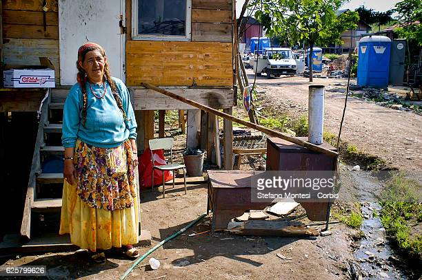 Bosnian Roma woman outside his home to the Rom's camp Casilino 900 on April 8 2008 in Rome Italy Field abusive nomad is one of the largest in Europe...