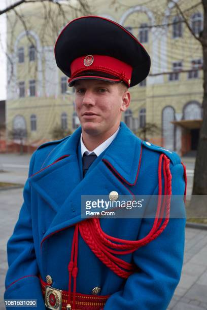 Bosnian Serb guard poses for a portrait on January 8 2019 in Banja Luka Bosnia and Herzegovina Republika Srpska the Serbian entity of Bosnia and...