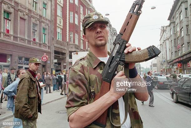 Bosnian Soldier with Assault Rifle