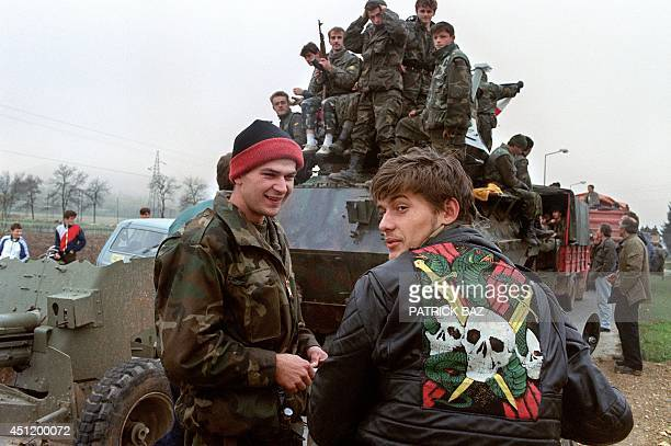 Bosnian soldiers affiliated to the Croatian wing pause on the road on November 02 while pulling out from Jajce Jajce a MuslimCroatian stronghold was...