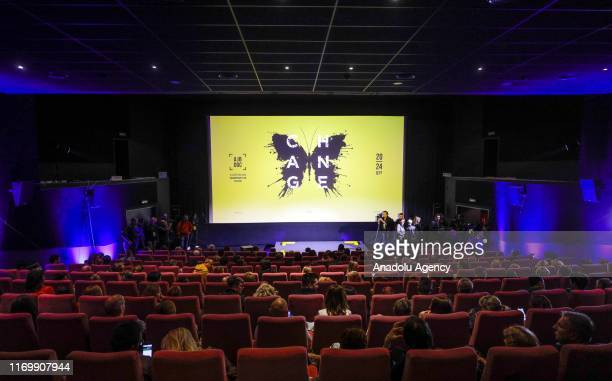 Bosnians arrive for the screening of the documentary For Sama directed by Syrian director Waad Al Kateab and British director Edward Watts during the...