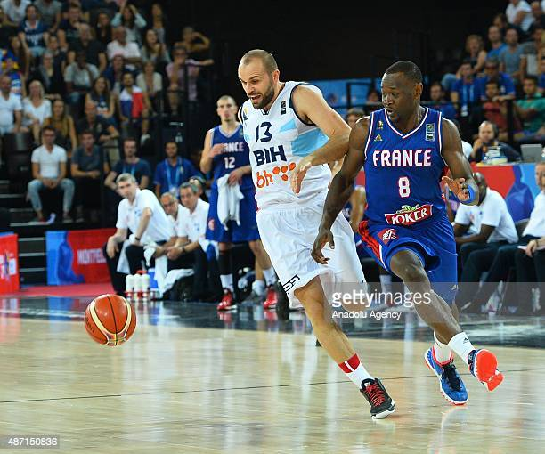 Bosnia's Dalibor Persic in action during the EuroBasket 2015 group A match between Bosnia and Herzegovina France at the Park and Suites Arena in...