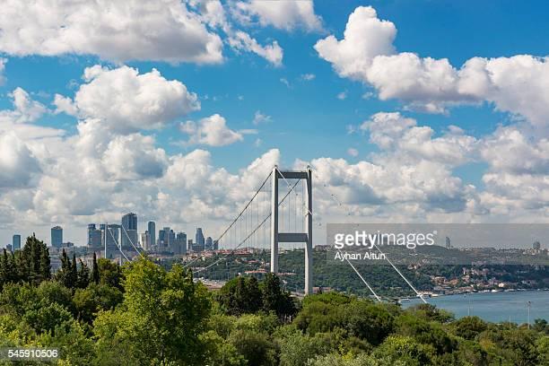 Bosphorus Bridge with hige rise buildings of Istanbul,Turkey