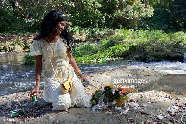 Bosque Almendares in Havana is an important place for Santeria ceremonies where ahderents make offerings to the Orishas Santeria is a syncretic...