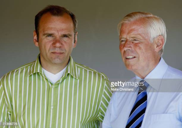 Boss Bernd Hoffmann of HSV and board of management Udo Bandow attend the Hamburger SV training session at playing ground on July 3, 2006 in Hamburg,...