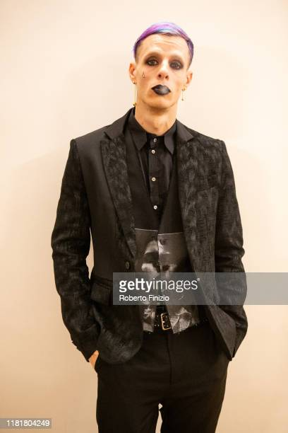 Boss Doms poses before the Tenco Prize 2019 at Teatro Ariston on October 17 2019 in Sanremo Italy