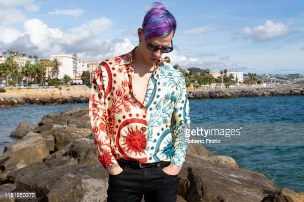 Boss Doms poses before the Tenco Prize 2019 on October 17 2019 in Sanremo Italy