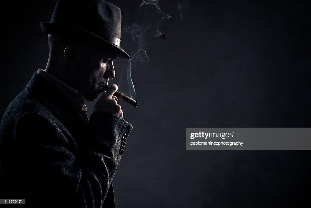 Boss smoking, gangster : Stock Photo